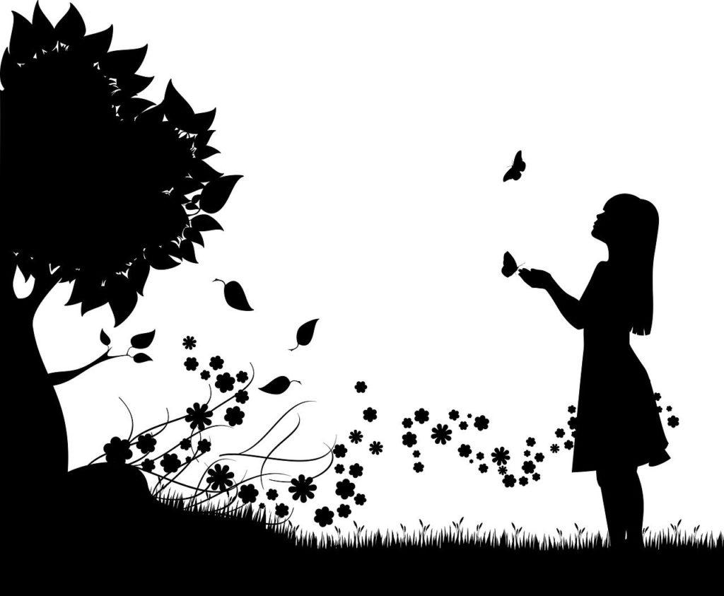 Mädchen mit Schmetterlingen